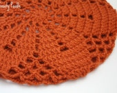 Slouchy Hat Knitted and Crocheted Terra Cotta Orange