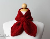 Knitted Scarflette Bow Neck Warmer Bow Cranberry Red