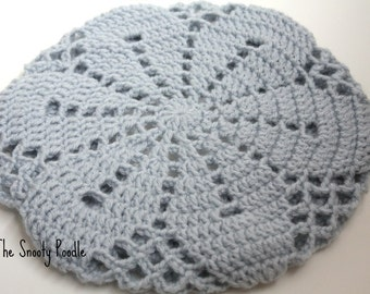 Silver Blue Crocheted and Knitted Slouchy Hat