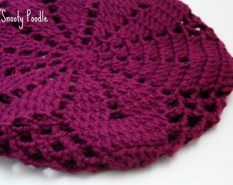 Slouchy Hat Tam Wild Berry Bright Purple Crocheted and Knitted