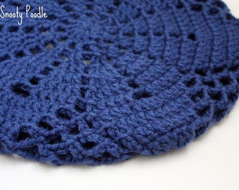 Slouchy Hat Crocheted and Knitted Colonial Blue