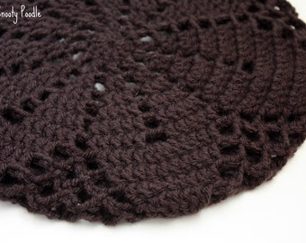 Adult Slouchy Hat Crochet in Espresso Dark Brown
