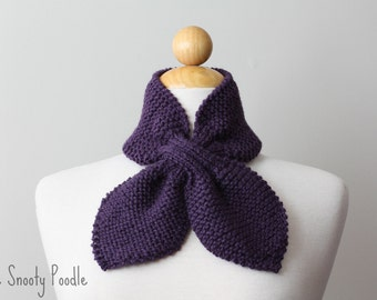 Scarf Scarflette Ascot Neck Warmer Knitted in Purple