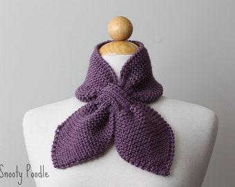 Knitted Scarflette Bow Neck Warmer Bow Dusty Purple