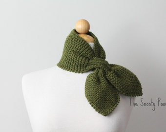 Knitted Neck Warmer Bow Scarflette Ascot Olive Green