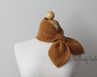 Honey Brown Bow Scarflette Neck Warmer Ascot