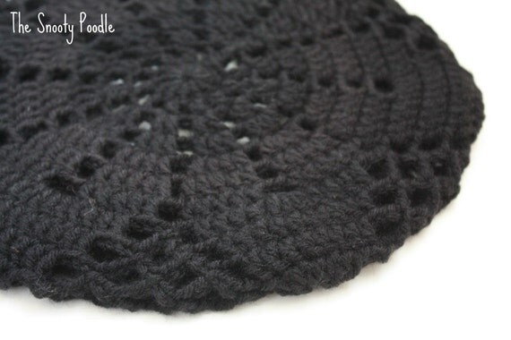 Black Crocheted and Knitted Slouchy Hat