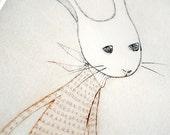 Afternoon Tea No. 14, Snow Rabbit No. 2, Drypoint