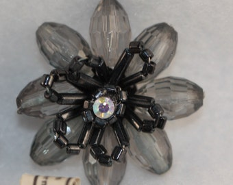 VINTAGE  hand beaded smoky grey and black floral spray w rhinestone (1)