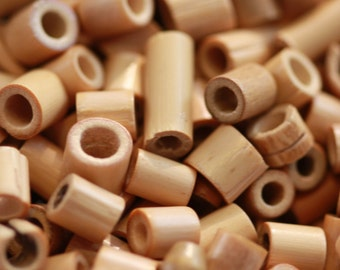 Tiny Natural Wooden Reed Barrel Long Beads - asst szs (50) Tunnel, Beige to Browns, Stem, Unique