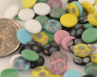 Tiny Colorful Dot Candy Resin Cabochons VINTAGE - Flat Backs - Scrapbooking, Crafts - 9mm