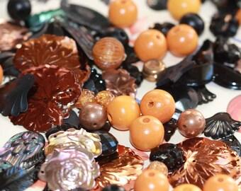 Fall Fantasy Super Fun Pack - Autumn Colors Vintage Sequins - Beads - Baubles (50 plus)