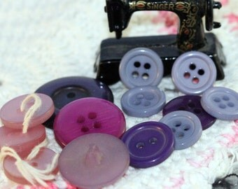 Vintage Purple Assortment Button Destash (24 +)
