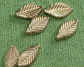 Tiny Gold plated - Thick Leaf Style - VINTAGE Dangle Scored leaf Beads (12)