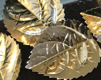 Cool Large 1.75 inch - Gold Vintage Serated Edge Opate Leaf Sequins - (25) 40 mm x 30 mm wide