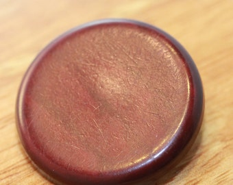 Beautiful Redwood Super Large VINTAGE metal shank COAT button - Highly Polished Natural Grain