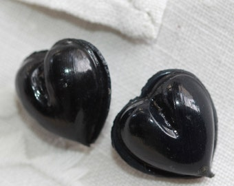 Very Vintage - Novelty  Molded Celluloid Omega Shank Buttons Pair - Black Bulbous Rounded Hearts (2)
