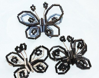 Beautiful Hand Beaded Bugle Bead VINTAGE Butterfly Embellishments - singles (1) Black and White or All Black, Black and Blue