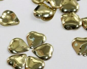 Gorgeous, Romantic Shimmering Golden - Vintage Bulbous Heart Metallic Gold Sequins - Pierced, 3D (50) 14 mm long