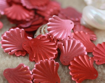 Muted Brick Red - Oceans of Fun -  VINTAGE clam sea shell sequins (30) 20 mm wide