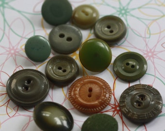 Avocado Bravado Fun Pack Group of Vintage Buttons (13) asst szs and colors