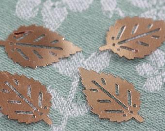Small Rose-Dust-Gold Bud Leaf Vintage Sequins (25) 30 cm long