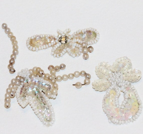 Delicate Vintage Shabby Chic - Hand Pearl Beaded-Sequined & Rhinestones on White-Ecru Silk - Small Embellishments