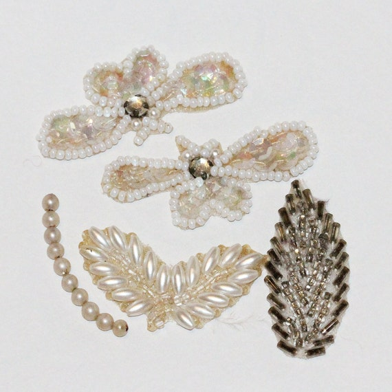 Delicate Vintage - Hand Beaded-Sequined & Rhinestones Accent  Pieces- Small Appliques - Butterflies and Leaves