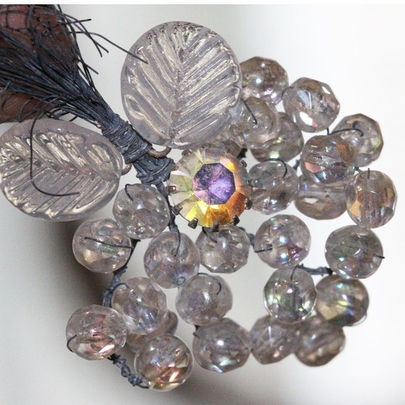 VINTAGE - Hand Beaded Embellishments - Rhinestone - Crystal Prismatic Faceted Floral Spray Vintage (1)