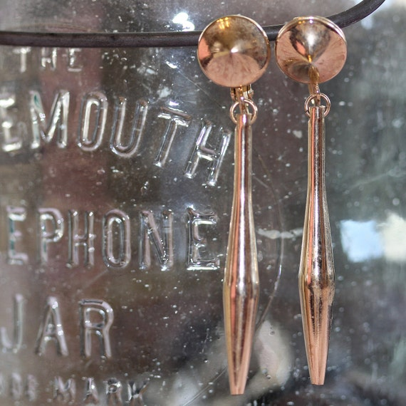 VINTAGE Brass Golden tones 1960's Outerspace Groovy Retro Dangle Drop Clip On Earrings