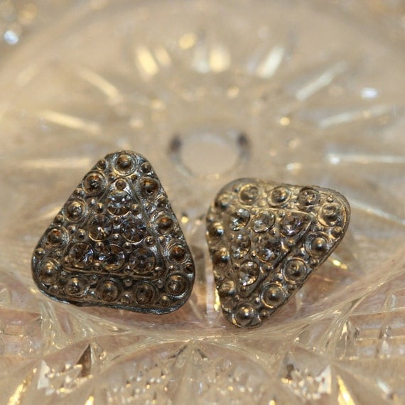 Unusual Vintage Silver Metal Marcasite and Rhinestone Triangle Shank Buttons