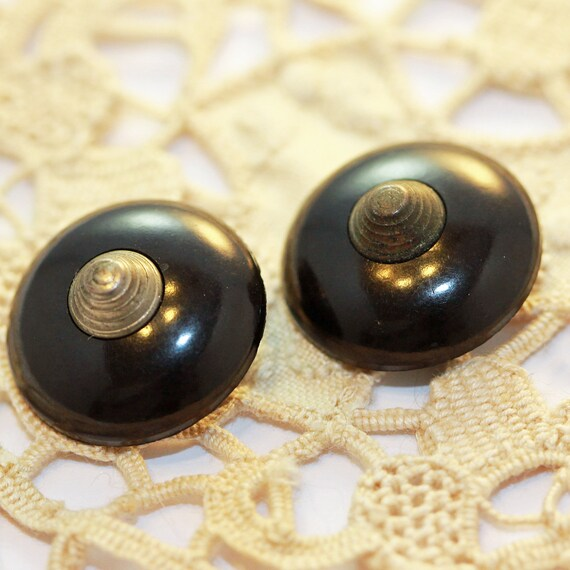 Antique Art Deco Bullet Coat Buttons - Bakelite and Silver Metal Topped ''Devo' style lg shanks (2)