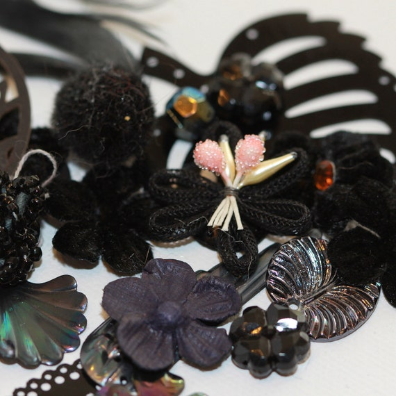 oh Black Betty Bam bah Ram - Black Crafting Fun Pack Assortment - Sequins, Beads, Baubles, embellishments, Buttons (50)