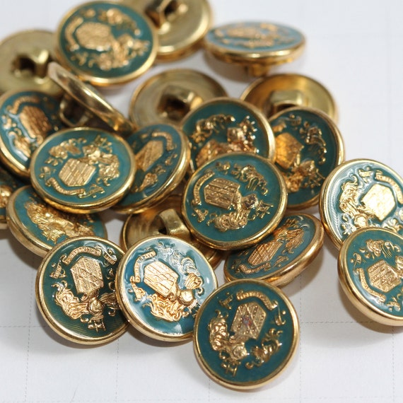 Vintage Enameled Teal Blue-Green and Gold Brass - Metal shank - Military or Royalty Crest Buttons Bonanza (25)