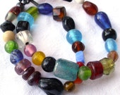 Eclectically arranged and colored double wrapped bracelet or necklace
