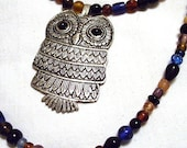 Nested owl beaded necklace pendant