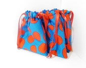 Cotton Drawstring Bags - Blue and Red Jelly Bean