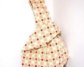 Japanese Knot Bag Wristlet  / Project Bag / Knitting Bag   Coral Dots
