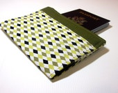 Fabric Passport Cover in Olive, Mustard and Black Diamonds