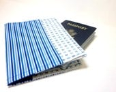 Fabric Passport Cover in Blue Stripes and Checks