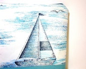 Large Zipper Pouch Large Cosmetic Pouch Large Clutch  Sail Away