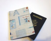 Fabric Passport Cover  - Bon Voyage - handjstarcreations