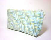Medium Cotton Cosmetic Pouch - Basketweave in Aqua and Green