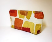 Medium  Zipper Pouch - Gold, Pumpkin, Orange Shapes - handjstarcreations