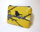 Small Zipper Pouch Gold Fabric Pouch Cosmetic Pouch Toiletry Bag Bird on a Branch