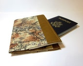 Fabric Passport Cover in World Map in Brown