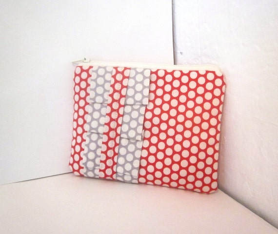 PIFW - Reserved - Red and Grey Honeycomb Small Zipper Pouch
