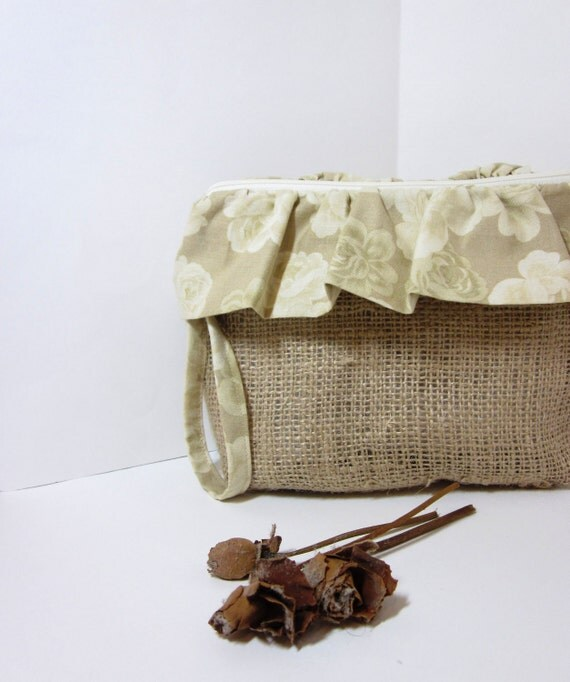 Burlap and Ruffles Wristlet - Faded Flowers