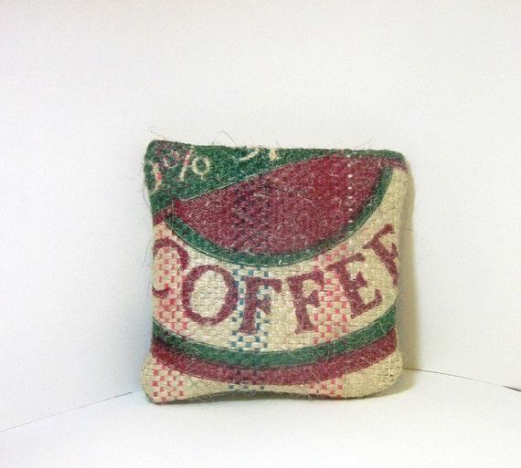 Rustic Eco Friendly Burlap Medium  Pouch - Coffee Love