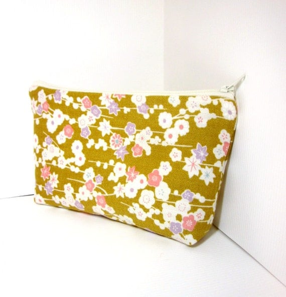 Medium Zipper Pouch  Japanese Print in Pink and White on Gold